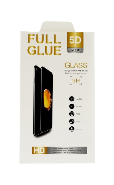 Polykarbonátové tvrzené sklo FullGlue iPhone 7 5D černé 44000 (ochranné sklo iPhone 7)