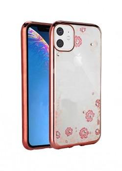 Zadní silikonový kryt Forcell na iPhone 11 růžový s růžovými květy