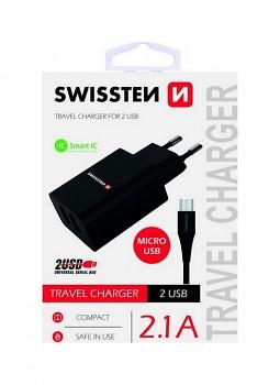 Nabíječka Swissten microUSB Dual Smart IC 2.1A černá