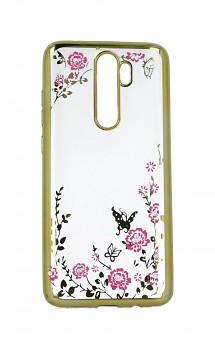 Zadní silikonový kryt na Xiaomi Redmi Note 8 Pro zlatý s růžovými květy