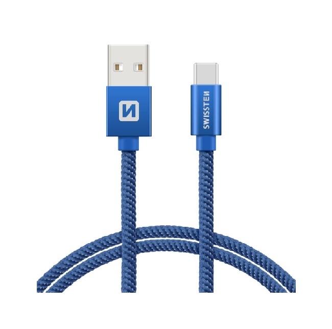 Datový kabel Swissten USB-C (Type-C) 1,2m modrý 44596