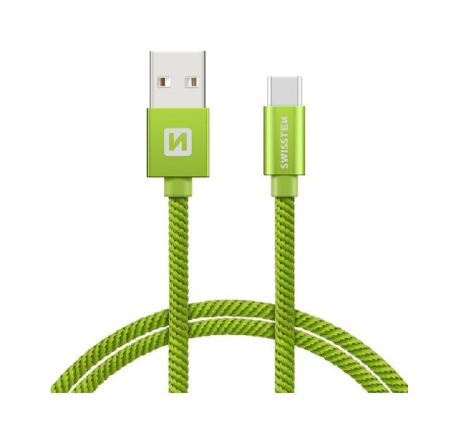 Datový kabel Swissten USB-C (Type-C) 1,2m zelený 44599