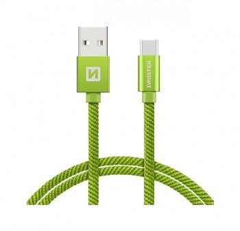 Datový kabel Swissten USB-C (Type-C) 2m zelený