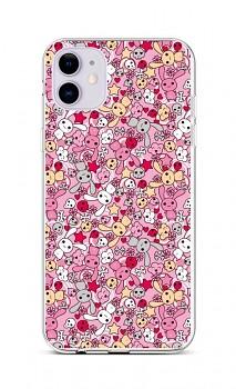 Zadní silikonový kryt na iPhone 11 Pink Bunnies