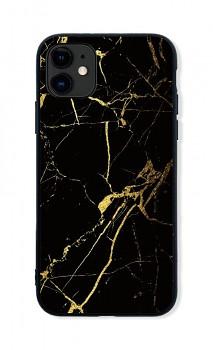 Zadní pevný kryt LUXURY na iPhone 11 Marble černo-zlatý