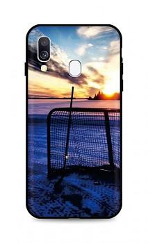 Zadní silikonový kryt DARK na Samsung A40 Hockey Sunset