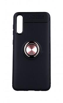 Zadní silikonový kryt na Samsung A30s černý s měděným prstenem