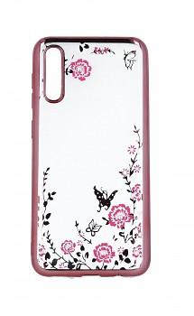 Zadní silikonový kryt na Samsung A30s růžový s růžovými květy