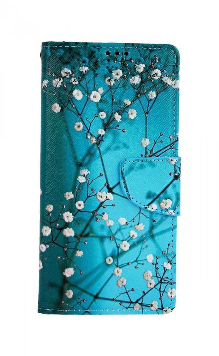 Knížkové pouzdro na Xiaomi Redmi Note 8 Pro Modré s květy