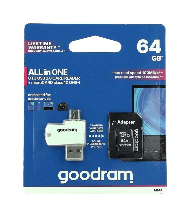 Paměťová karta GOODRAM 64GB Class 10 + čtečka micro USB 46231