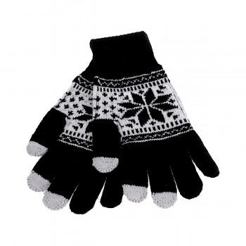 Dotykové rukavice pro mobilní telefon Snowflake černé vel. M