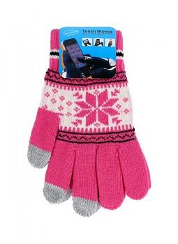 Dotykové rukavice pro mobilní telefon Snowflake růžové vel. M