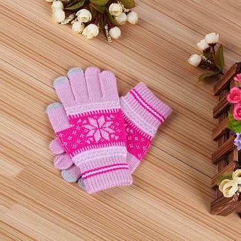 Dotykové rukavice pro mobilní telefon Snowflake světle růžové vel. M