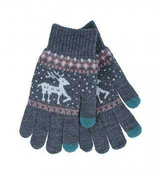 Dotykové rukavice pro mobilní telefon Sob šedé vel. M
