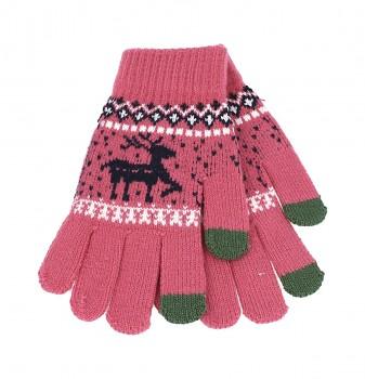 Dotykové rukavice pro mobilní telefon Sob růžové vel. M