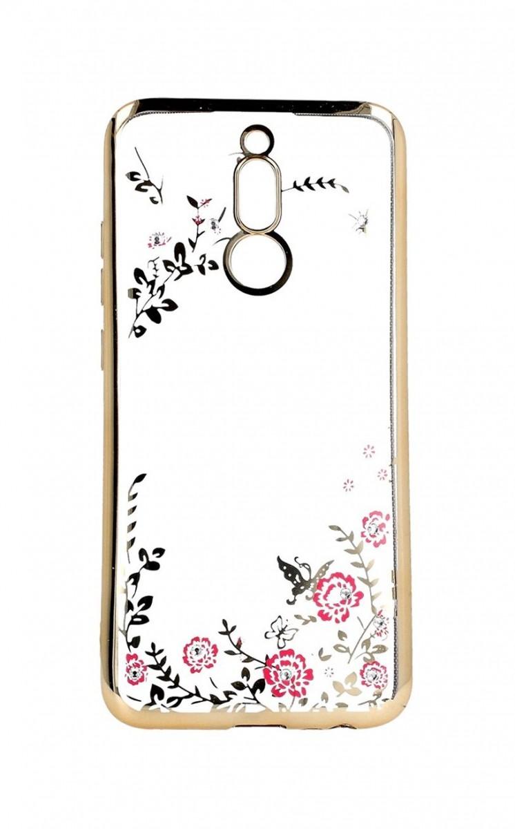 Zadní pouzdro Xiaomi Redmi 8 zlaté s růžovými květy