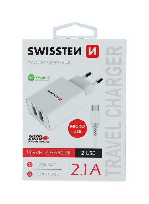 Nabíječka Swissten microUSB Dual Smart IC 2.1A bílá