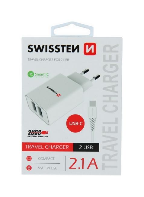Nabíječka Swissten USB-C (Type-C) Dual Smart IC 2.1A bílá