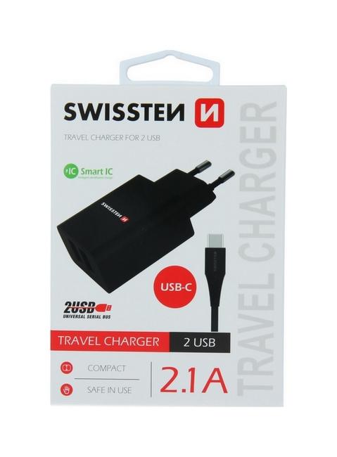 Nabíječka Swissten USB-C (Type-C) Dual Smart IC 2.1A černá