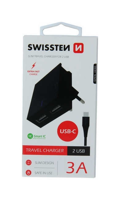 Nabíječka Swissten USB-C (Type-C) Dual Smart IC 3A černá 46700