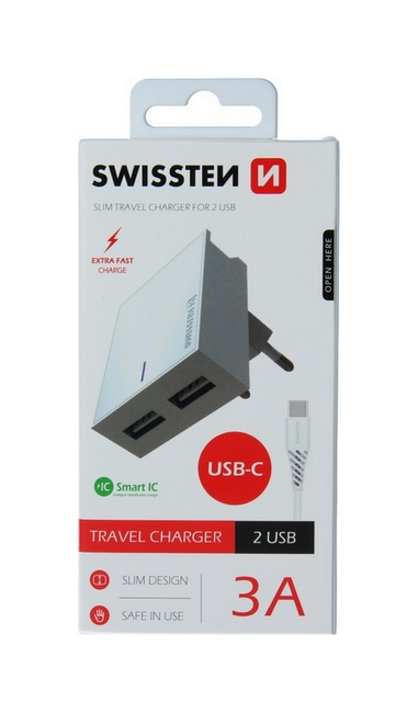 Nabíječka Swissten USB-C (Type-C) Dual Smart IC 3A bílá 46701