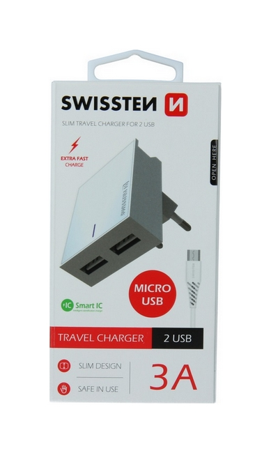 Nabíječka Swissten microUSB Dual Smart IC 3A bílá 46702