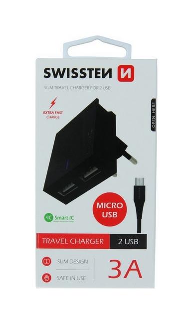 Nabíječka Swissten microUSB Dual Smart IC 3A černá 46703
