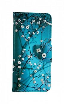 Knížkové pouzdro na Xiaomi Redmi Note 8T Modré s květy