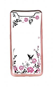 Zadní silikonový kryt na Samsung A80 růžový s růžovými květy