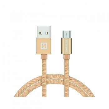 Datový kabel Swissten microUSB 1,2m zlatý