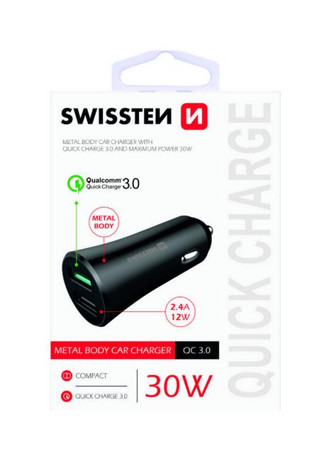 Rychlonabíječka do auta Swissten 30W Dual černá 47880