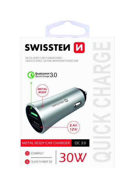 Rychlonabíječka do auta Swissten 30W Dual stříbrná 47881
