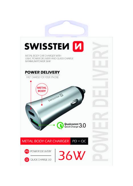 Rychlonabíječka do auta Swissten 36W Dual stříbrná 47883