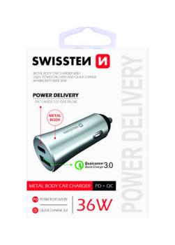 Rychlonabíječka do auta Swissten 36W Dual stříbrná