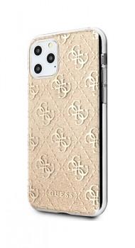 Zadní pevný kryt Guess 4G Glitter na iPhone 11 zlatý GUHCN61PCU4GLGO