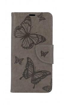 Knížkové pouzdro na Samsung A40 Butterfly šedé