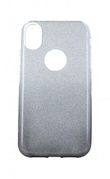 Zadní pevný kryt na iPhone XR glitter stříbrno-černý