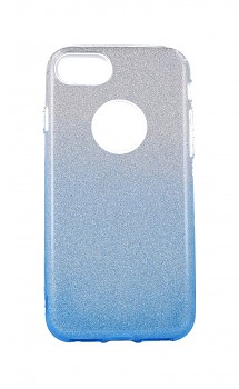 Zadní pevný kryt Forcell na iPhone 8 glitter stříbrno-modrý