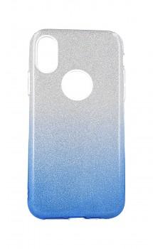 Zadní pevný kryt Forcell na iPhone XS glitter stříbrno-modrý