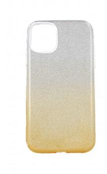 Zadní pevný kryt na iPhone 11 glitter stříbrno-oranžový