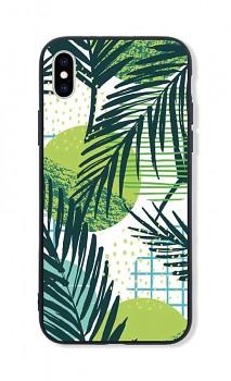 Zadní pevný kryt LUXURY na iPhone XS Green Leaves