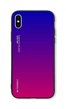Zadní pevný kryt LUXURY na iPhone XS duhový fialový