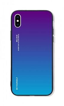Zadní pevný kryt LUXURY na iPhone XS duhový purpurový