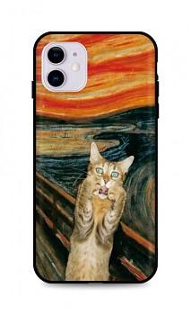 Zadní silikonový kryt DARK na iPhone 11 Scared Cat