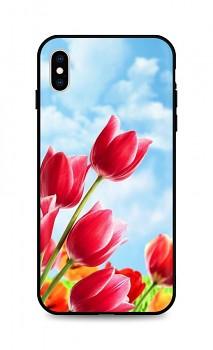 Zadní silikonový kryt DARK na iPhone XS Tulips