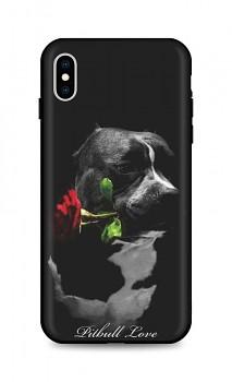 Zadní silikonový kryt DARK na iPhone XS Pitbull Love