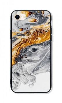 Zadní pevný kryt LUXURY na iPhone SE 2020 Marble šedo-zlatý