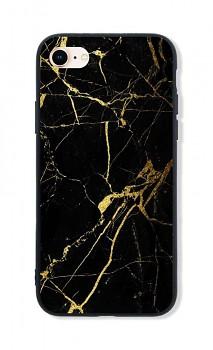 Zadní pevný kryt LUXURY na iPhone SE 2020 Marble černo-zlatý
