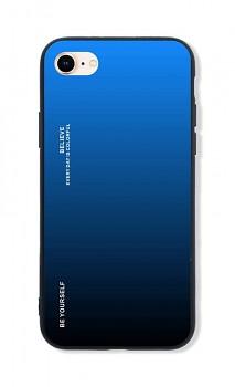 Zadní pevný kryt LUXURY na iPhone SE 2020 duhový modrý