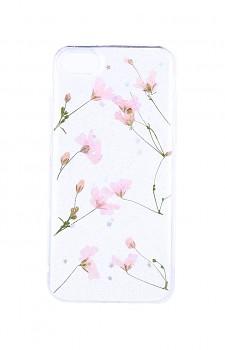 Zadní silikonový kryt na iPhone SE 2020 Kytičky růžové